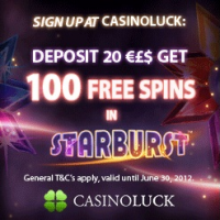 CasinoLuck 100 Free Spins on Starburst Video Slot
