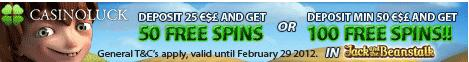 casino luck 50 or 100 free spins | casino bonuses
